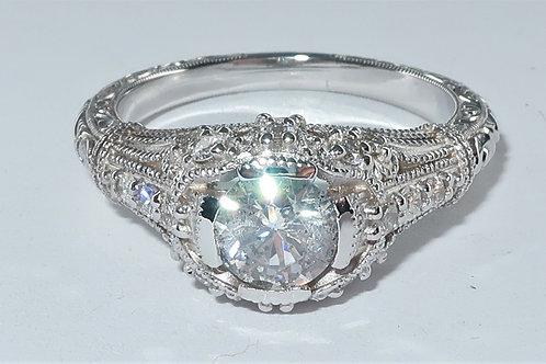 Art Deco Style 18 Karat White Gold Diamond Engagement Ring. 1.00cttw