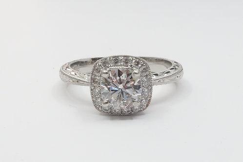 Ladies Art-Deco Design Platinum and  Diamond Engagement Ring. 1.00cttw