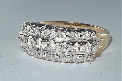 Art Deco 3 Row Prong Set Diamond Wedding or Anniversary Band