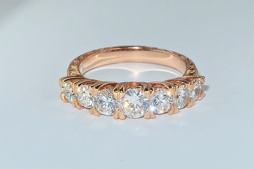 Edwardian Style 18karat Rose Gold Diamond Ring, 7 Diamonds Graduated