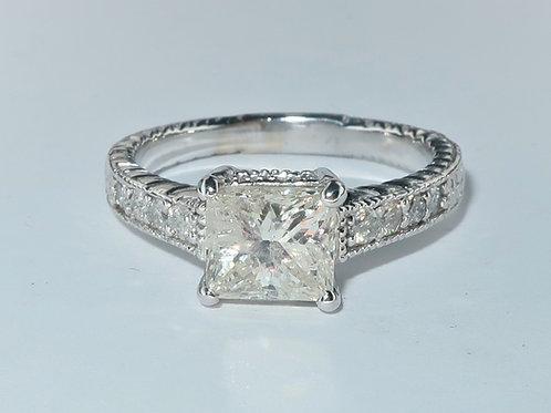 Art-Deco Style 14Karat White gold Diamond Engagement Ring. 1.40cttw
