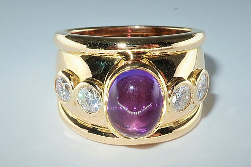 Purple Amethyst and Diamond Ring in 18 Karat Yellow Gold