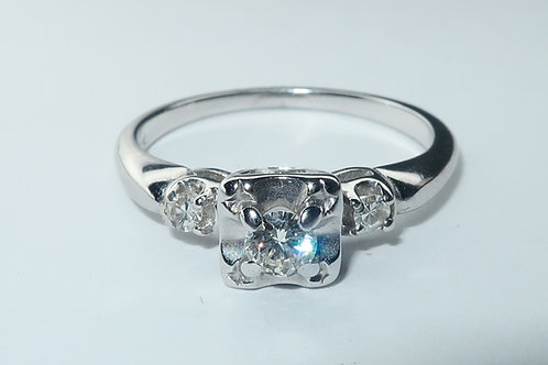Art Deco Style Ring, 3 Diamonds