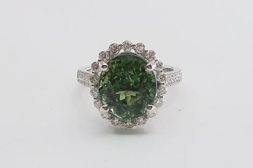 Ladies Halo Design Green Tourmaline & Diamond Ring 6.00ct tw