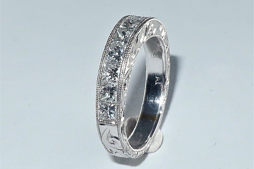 Art Deco Style hand engraved channel set princess cut diamond anniversary / wedd