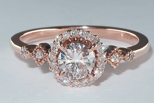 Art Deco Halo design 14 Karat Rose Gold Diamond Engagement Ring (1/2cttw)