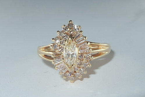 Fancy 1970s Waterfall Cluster Diamond Ring 1.00 cttw