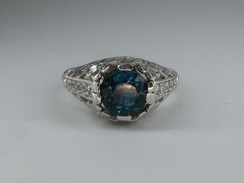 Art Nouveau Style 18Karat White Gold Sapphire & Diamond Ring.