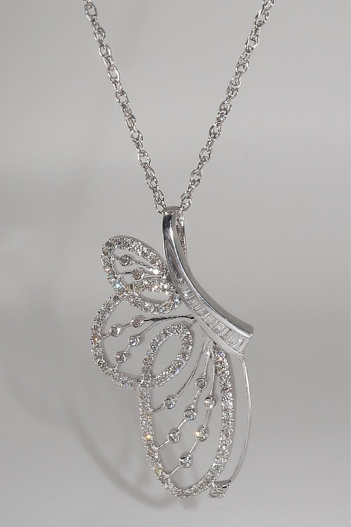 Art Nouveau Style Butterfly Pendant With Diamonds 1.25cttw
