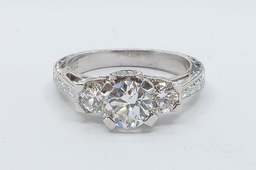 1. 1/3cttw Art deco Style Past, Present and Future 3 Diamonds  Engagement Ring.