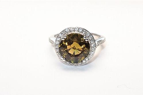 Ladies Halo design Color Chance Tourmaline and Diamonds Ring