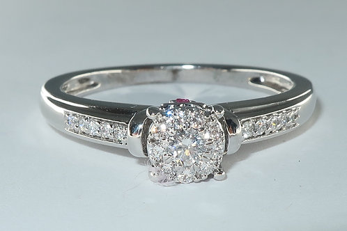 Diamond Cluster Engagement Ring, Total Diamond Weight 1/3Carat, 10kt White Gold