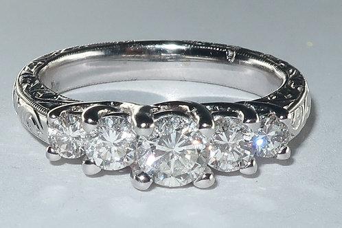 Art-Deco Style 5 Diamonds 18 Karat White Gold Engagement Ring. 1.00cttw