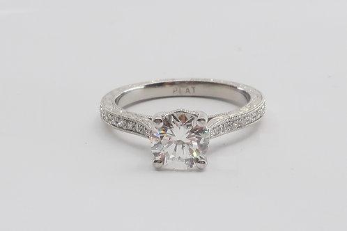Ladies Art-Deco Style Platinum Diamond Engagement Ring. 1.15cttw