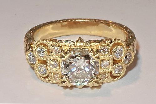 Art deco Style 18 Karat Yellow Gold Diamond Engagement Ring