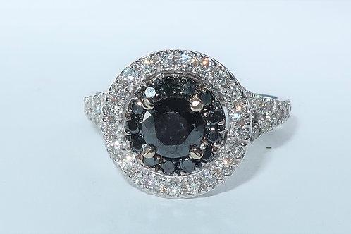 Ladies Black and White Double Halo Diamond Ring