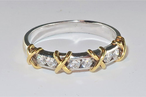 2 Tone White and Yellow Gold Ring, Hugs and Kisses Diamond Ring