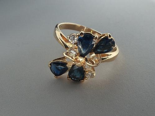 Retro Style 2.00cttw Sapphires and Diamonds Ring
