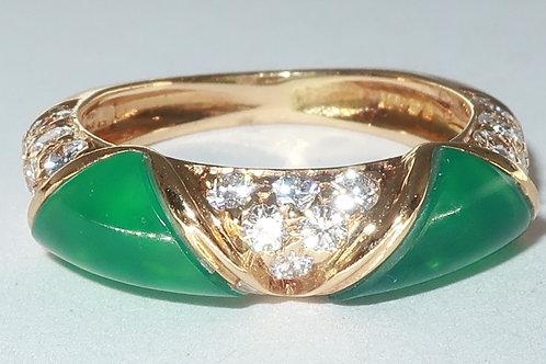 Jade and Diamond Ring, 18k Yellow Gold