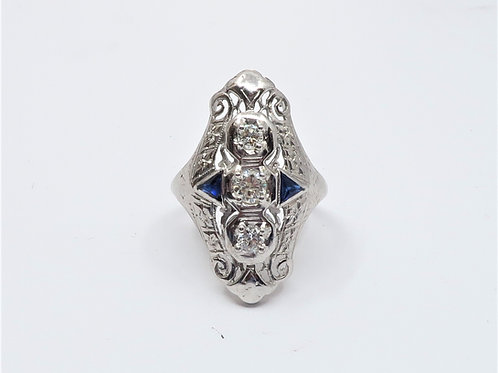 Antique 1/2cttw Diamond and Sapphires Ring in 18karat White Gold