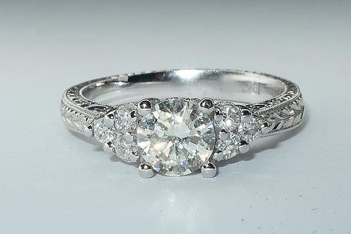 Edwardian Style 18 Karat White Gold Diamond Engagement Ring