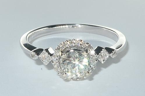 Diamond Engagement Ring, Art Deco Halo Design, 14kt White Gold