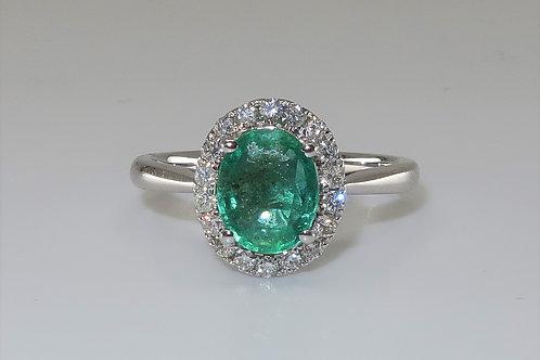 Ladies Halo Emerald And Diamond Ring