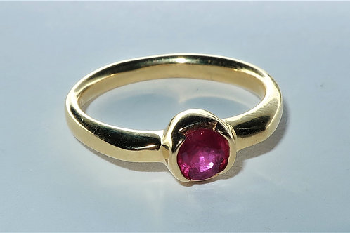 Classic Half Bezel Set Tiffany Style Ruby Solitaire Ring