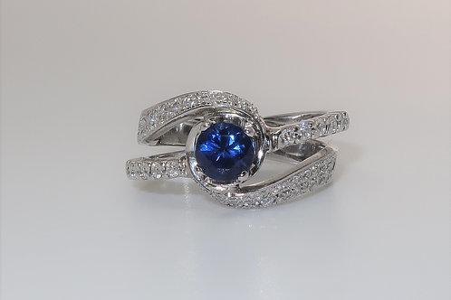 Curve Wave Split Shank 18 Karat White Gold Sapphire and Diamond Ring.