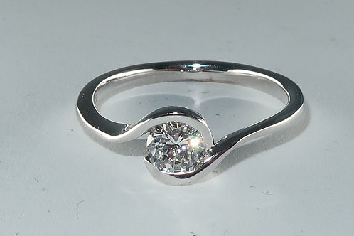 Bypass Setting Solitaire Diamond Engagement Ring
