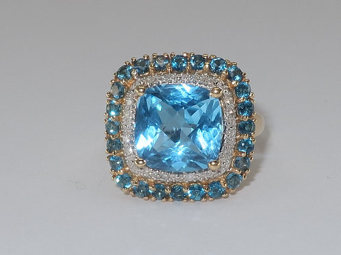 Cushion Swiss Blue Topaz Split Ring with Double Halo