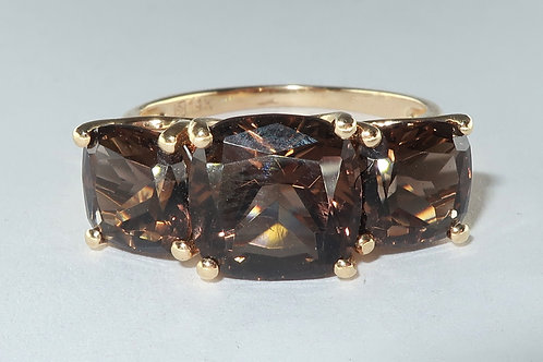 6.00cttw Cushion-Cut Smoky Quartz Ring In 14k Gold