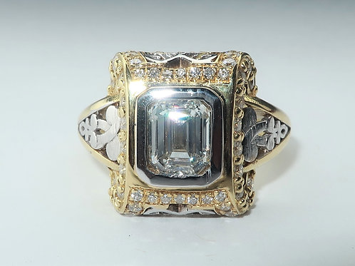 Edwardian Style 18 Karat White/Yellow Gold Diamond Engagement/Anniversary Ring