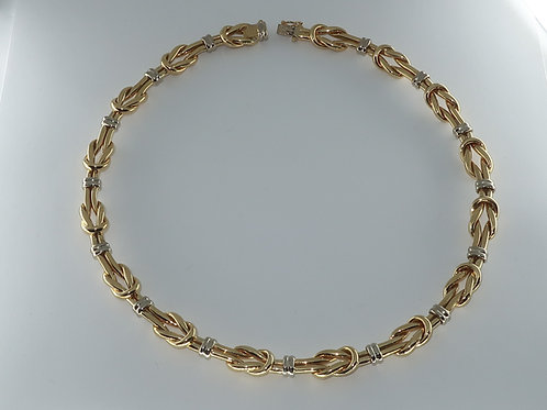 18Karat Yellow and White Gold Articulated Link Necklace.