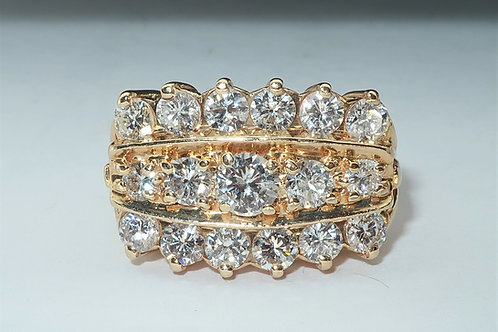 Triple Row Lady s Diamond Engagement/Anniversary Ring in 14karat Yellow gold 2.0