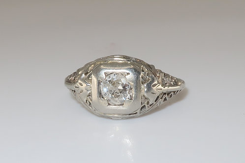 Edwardian 1/2 CTW Old European Diamond 18 Karat White Gold Engagement Ring