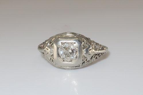 Edwardian 1/2 CTW Old European Diamond 18 Karat White Gold Engagement Ring