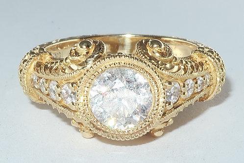 Art Deco Style 18Karat Yellow Gold Diamond Ring 1.50 carat total weight