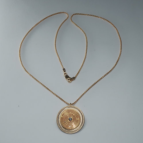 14 Karat Yellow Gold CHARTRES LABYRINTH Disc Pendent With Diamond