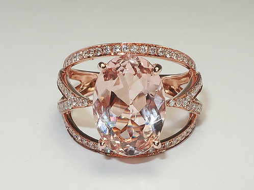 Ladies Morganite and Diamond Ring