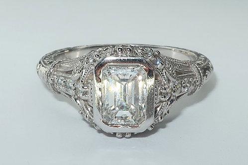 Art Deco Style 18 Karat White Gold Diamond Engagement Ring. 1.15cttw