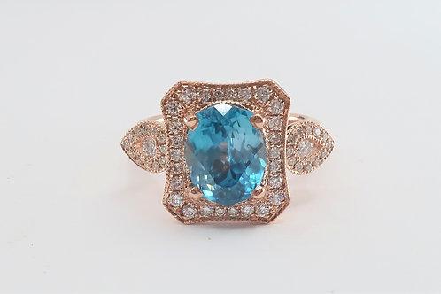 Edwardian Style Ladies Halo design Blue Cambolite and Diamond Ring. 4.63ct tw