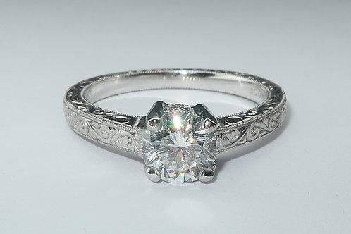 Edwardian Style Hand Made Platinum Diamond Engagement Ring