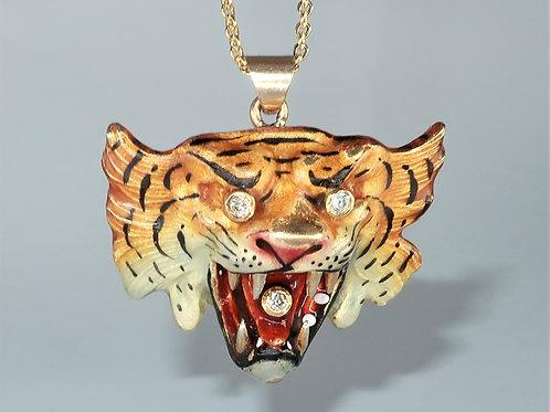 Art Nouveau 14k Diamond and Enamel Tiger Pendant Necklace