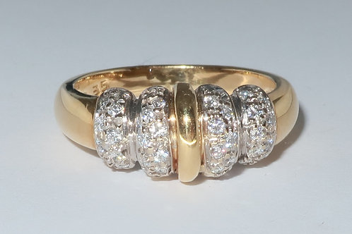 Diamond Ring, 0.35cttw, Art Deco Style in 18K white gold and yellow gold