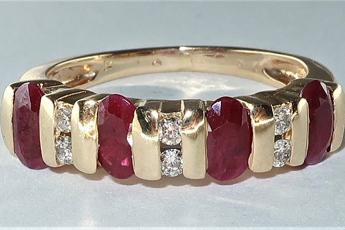 Ruby and Diamond Wedding or Anniversary Ring