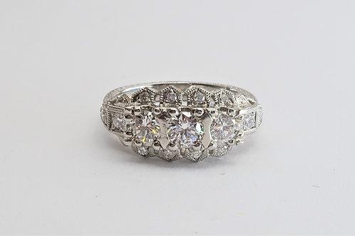 Late Victorian Style Platinum Diamond Engagement Ring. 1.05cttw
