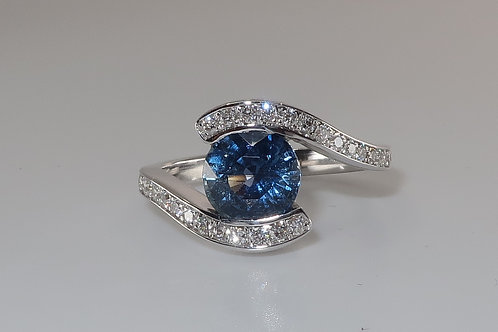 Bypass Wave Design Sapphire and Diamond Ring