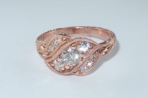Art-Deco Style Hand made Hand Engrave 18 Karat Rose Gold Diamond Engagement Ring