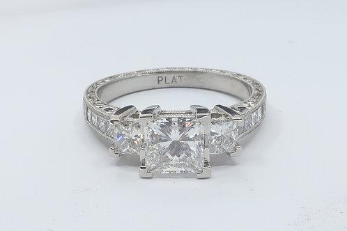 2.00cttw Art-Deco Style,  Princess cut Diamond Engagement  Ring.